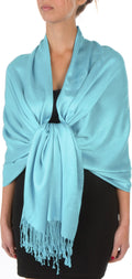 "Sakkas 78"" X 28"" Rayon from Bamboo Soft Solid Pashmina Feel Shawl / Wrap / Stole#color_Aqua"