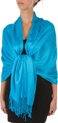 "Sakkas 78"" X 28"" Rayon from Bamboo Soft Solid Pashmina Feel Shawl / Wrap / Stole#color_Azure Blue"
