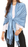 "Sakkas 78"" X 28"" Rayon from Bamboo Soft Solid Pashmina Feel Shawl / Wrap / Stole#color_Baby Blue"