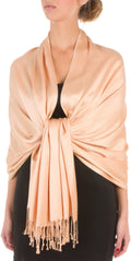 "Sakkas 78"" X 28"" Rayon from Bamboo Soft Solid Pashmina Feel Shawl / Wrap / Stole#color_Beige"