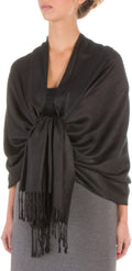"Sakkas 78"" X 28"" Rayon from Bamboo Soft Solid Pashmina Feel Shawl / Wrap / Stole#color_Black"