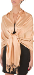 "Sakkas 78"" X 28"" Rayon from Bamboo Soft Solid Pashmina Feel Shawl / Wrap / Stole#color_Camel"