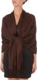 "Sakkas 78"" X 28"" Rayon from Bamboo Soft Solid Pashmina Feel Shawl / Wrap / Stole#color_Chocolate Brown"