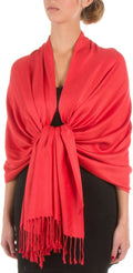"Sakkas 78"" X 28"" Rayon from Bamboo Soft Solid Pashmina Feel Shawl / Wrap / Stole#color_Coral"