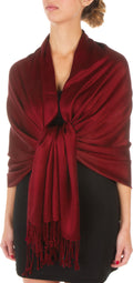 "Sakkas 78"" X 28"" Rayon from Bamboo Soft Solid Pashmina Feel Shawl / Wrap / Stole#color_Dark Red"