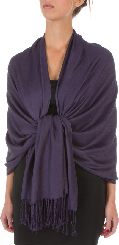 "group-Eggplant (Sakkas 78"" X 28"" Rayon from Bamboo Soft Solid Pashmina Feel Shawl / Wrap / Stole)"