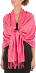 "Sakkas 78"" X 28"" Rayon from Bamboo Soft Solid Pashmina Feel Shawl / Wrap / Stole#color_Fuchsia"