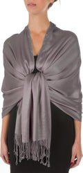 "Sakkas 78"" X 28"" Rayon from Bamboo Soft Solid Pashmina Feel Shawl / Wrap / Stole#color_Grey"