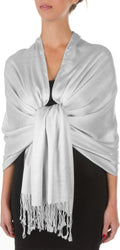 "Sakkas 78"" X 28"" Rayon from Bamboo Soft Solid Pashmina Feel Shawl / Wrap / Stole#color_Light Grey"