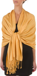 "Sakkas 78"" X 28"" Rayon from Bamboo Soft Solid Pashmina Feel Shawl / Wrap / Stole#color_Mustard Yellow"