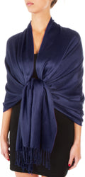 "Sakkas 78"" X 28"" Rayon from Bamboo Soft Solid Pashmina Feel Shawl / Wrap / Stole#color_Navy"