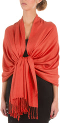 "Sakkas 78"" X 28"" Rayon from Bamboo Soft Solid Pashmina Feel Shawl / Wrap / Stole#color_Pumpkin"