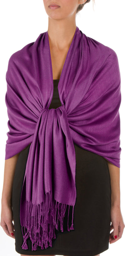 "Sakkas 78"" X 28"" Rayon from Bamboo Soft Solid Pashmina Shawl / Wrap / Stole"