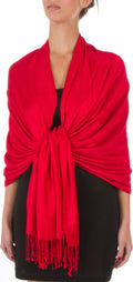 "Sakkas 78"" X 28"" Rayon from Bamboo Soft Solid Pashmina Feel Shawl / Wrap / Stole#color_Red"