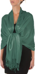 "Sakkas 78"" X 28"" Rayon from Bamboo Soft Solid Pashmina Feel Shawl / Wrap / Stole#color_Sea Green"