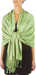 "Sakkas 78"" X 28"" Rayon from Bamboo Soft Solid Pashmina Feel Shawl / Wrap / Stole#color_Springgreen"