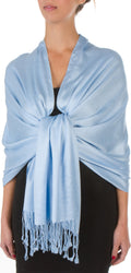 "Sakkas 78"" X 28"" Rayon from Bamboo Soft Solid Pashmina Feel Shawl / Wrap / Stole#color_Steel Blue"