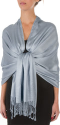 "Sakkas 78"" X 28"" Rayon from Bamboo Soft Solid Pashmina Feel Shawl / Wrap / Stole#color_Stone"