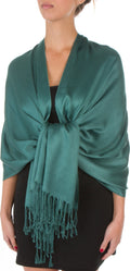 "Sakkas 78"" X 28"" Rayon from Bamboo Soft Solid Pashmina Feel Shawl / Wrap / Stole#color_Teal"
