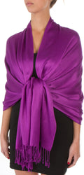 "Sakkas 78"" X 28"" Rayon from Bamboo Soft Solid Pashmina Feel Shawl / Wrap / Stole#color_Violet"