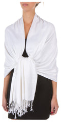 "Sakkas 78"" X 28"" Rayon from Bamboo Soft Solid Pashmina Feel Shawl / Wrap / Stole#color_White"