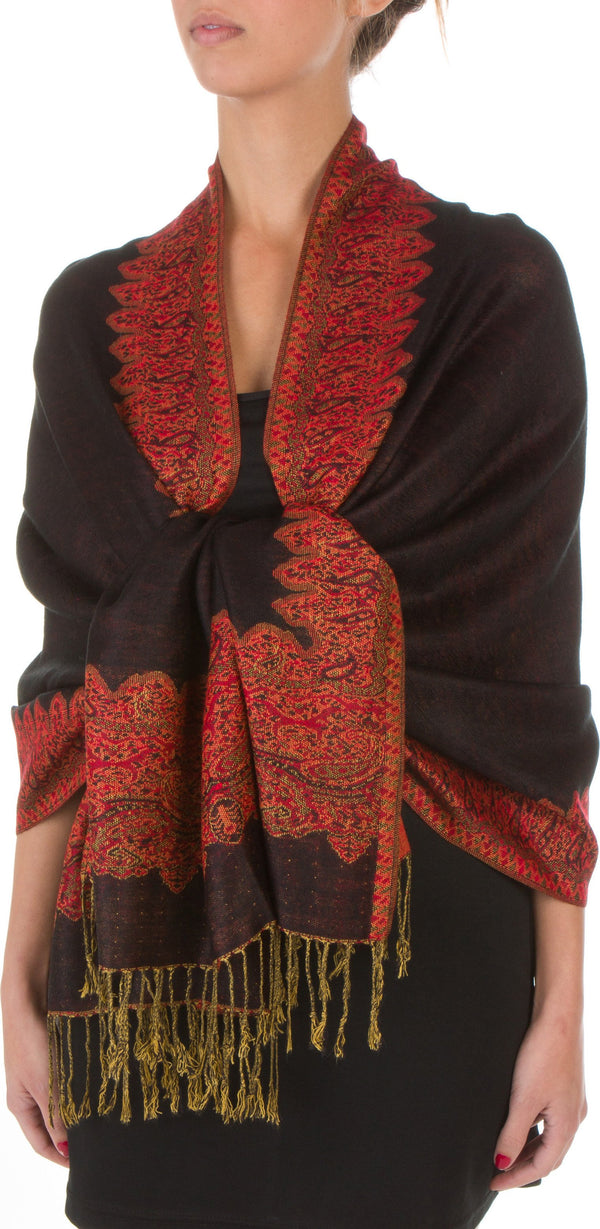 "Sakkas 70"" x 28"" Border Pattern Layered Woven Pashmina Shawl Scarf Wrap Stole#color_Black Red"