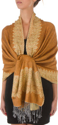 "Sakkas 70"" x 28"" Border Pattern Layered Woven Pashmina Shawl Scarf Wrap Stole#color_Dark Goldenrod"