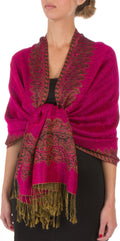 "Sakkas 70"" x 28"" Border Pattern Layered Woven Pashmina Shawl Scarf Wrap Stole#color_Fuchsia"