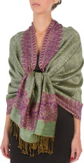 "Sakkas 70"" x 28"" Border Pattern Layered Woven Pashmina Shawl Scarf Wrap Stole#color_Green Purple"