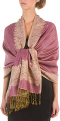 "Sakkas 70"" x 28"" Border Pattern Layered Woven Pashmina Shawl Scarf Wrap Stole#color_Mauve"