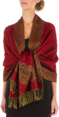 "Sakkas 70"" x 28"" Border Pattern Layered Woven Pashmina Shawl Scarf Wrap Stole#color_Red"