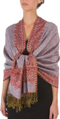 "Sakkas 70"" x 28"" Border Pattern Layered Woven Pashmina Shawl Scarf Wrap Stole#color_Rose Quartz"