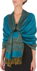 "Sakkas 70"" x 28"" Border Pattern Layered Woven Pashmina Shawl Scarf Wrap Stole#color_Turquoise"