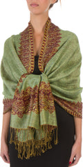 "Sakkas 70"" x 28"" Border Pattern Layered Woven Pashmina Shawl Scarf Wrap Stole#color_Apple Green"