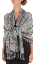 "Sakkas 70"" x 28"" Border Pattern Layered Woven Pashmina Shawl Scarf Wrap Stole#color_Black White"