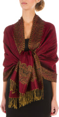 "Sakkas 70"" x 28"" Border Pattern Layered Woven Pashmina Shawl Scarf Wrap Stole#color_Burgundy"