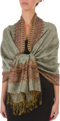 "Sakkas 70"" x 28"" Border Pattern Layered Woven Pashmina Shawl Scarf Wrap Stole#color_Celadon Green"