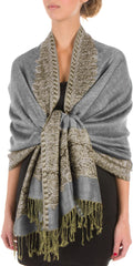 "Sakkas 70"" x 28"" Border Pattern Layered Woven Pashmina Shawl Scarf Wrap Stole#color_Grey"