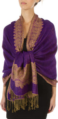 "Sakkas 70"" x 28"" Border Pattern Layered Woven Pashmina Shawl Scarf Wrap Stole#color_Purple"
