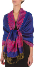 "Sakkas 70"" x 28"" Border Pattern Layered Woven Pashmina Shawl Scarf Wrap Stole#color_Royal Blue"
