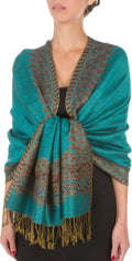 "Sakkas 70"" x 28"" Border Pattern Layered Woven Pashmina Shawl Scarf Wrap Stole#color_Sea Green"