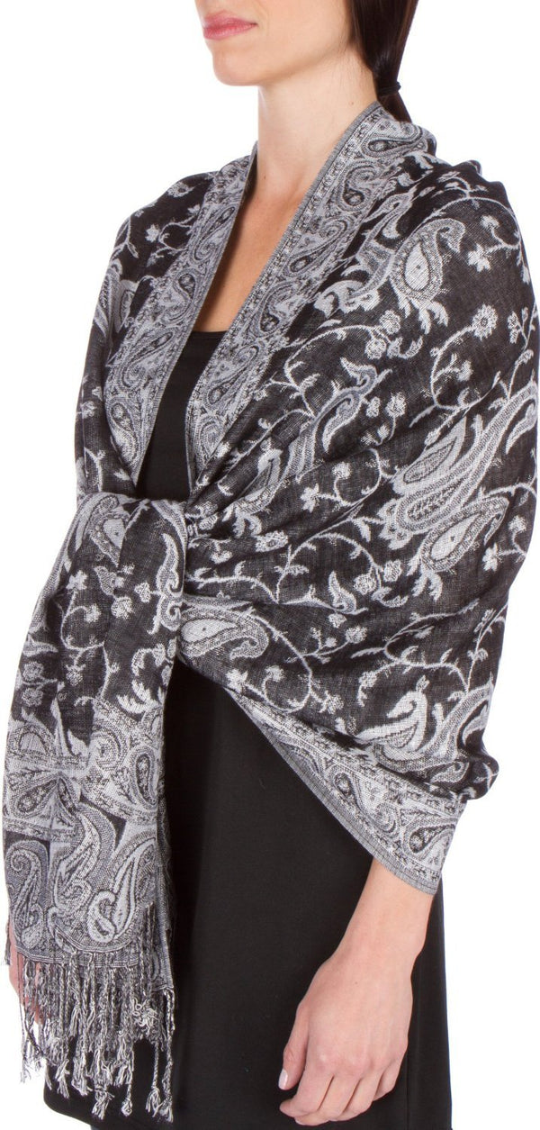 Sakkas Double Layer Jacquard Paisley Pashmina Shawl / Wrap / Stole#color_Black / White