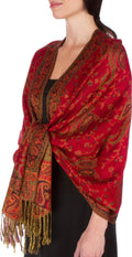 Sakkas Double Layer Jacquard Paisley Pashmina Shawl / Wrap / Stole#color_Red