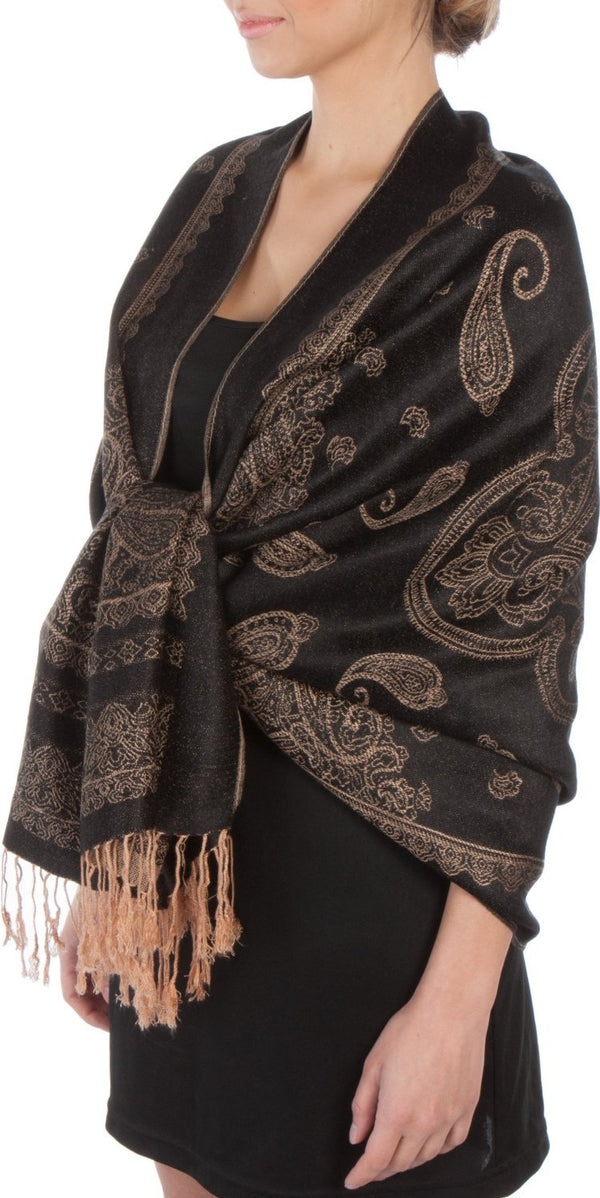 Sakkas Lightweight Two Tone Paisley Design Pashmina Fringe Scarf / Stole / Wrap#color_Black / Beige