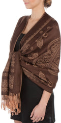 Sakkas Lightweight Two Tone Paisley Design Pashmina Fringe Scarf / Stole / Wrap#color_Brown / Beige