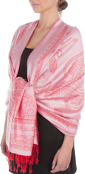 Sakkas Lightweight Two Tone Paisley Design Pashmina Fringe Scarf / Stole / Wrap#color_Pink / Red