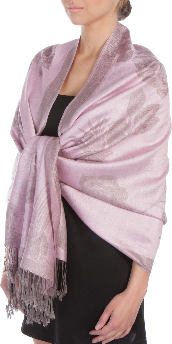 Sakkas Two Tone Rose Pashmina Scarf / Stole / Wrap#color_Baby Pink / Gray