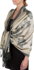 Sakkas Two Tone Rose Pashmina Scarf / Stole / Wrap#color_Beige / Black
