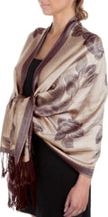 Sakkas Two Tone Rose Pashmina Scarf / Stole / Wrap#color_Beige / Brown