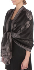 Sakkas Two Tone Rose Pashmina Scarf / Stole / Wrap#color_Black / Gray